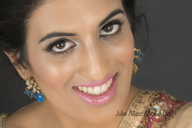 Close up of more muted Indian Bridal make up.