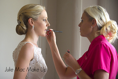 Julie Mac make up artist seen working here on a wedding at Thornton Manor applying Mac make up products